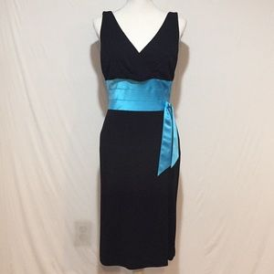 Kay Unger Black V-neck Sleeveless Cocktail Dress
